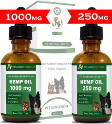 Hemp Oil for Dogs and Cats - 100% Organic Hemp Extract for Pets 250 mg