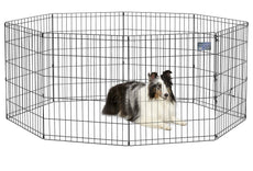 "Midwest Exercise Pen/Pet Playpens | 8-Panels Each w/ 5 Height Options Ideal for Any Dog Breed Black No Door 30"" H"