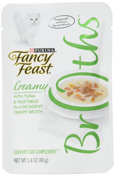 Fancy Feast Broths Creamy Tuna & Vegetables Cat Food Complement, 1.4 oz.