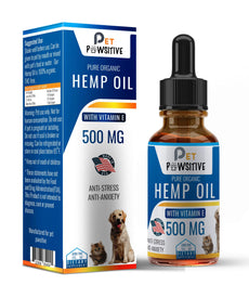 Pet Pawsitive - Hemp Oil Dogs Cats - 500mg - Seperation Anxiety, Joint Pain, Stress Relief, Arthritis, Seizures, Chronic Pains, Anti-Inflammatory - Made in USA – 100% Organic – Calming Drops