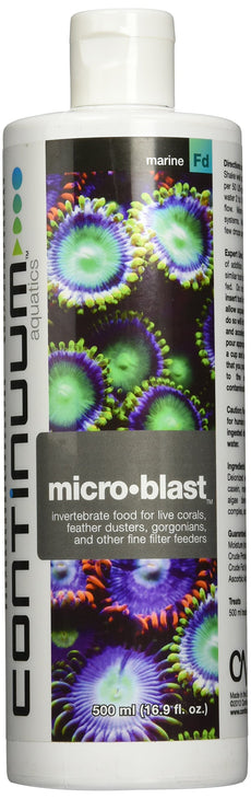 Continuum Aquatics Micro-Blast, invertebrate for live corals, feather dusters, gorgonians, & other fine filter feeders, 500ml