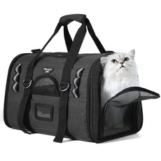 TOURIT Soft Sided Cat Carriers for Medium Cats Sturdy Pet Carrier with 2 Fleece Pads for Small Dogs Kitties Black