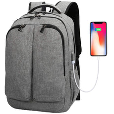 Travel Laptop Backpack, Tocode Large Business Backpack with USB Charging Port and Earphone Hole, Water Resistant College School Computer Rucksack for Women Men Fits 17 Inch Laptop and Notebook Grey