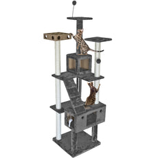 FurHaven Pet Cat Furniture | Tiger Tough Cat Tree - Available in Multiple Colors & Styles Gray Double Decker Playground