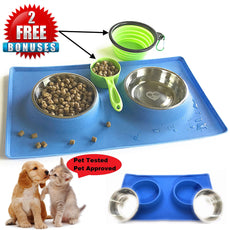 MCBInfinity Small Dog Bowls Set Newly Redesigned RECTANGLE Catch-All NonSkid No Spill Silicone Mat, 2x12oz Stainless Steel Bowl+ BONUS Pet Food Scoop + Collapsible Bowl Best For Puppy,Small Dogs, Cats