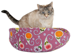 Cat Canoe Modern cat Bed in psychotropical Pink Floral Paisley Fabric with Polka dots Lining