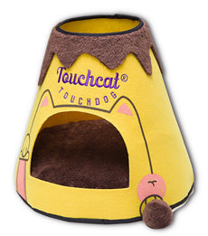 Touchcat Molten Lava Designer Triangular Cat Pet Kitty Bed House With Toy Yellow/Brown One Size