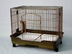 "Homey Pet 25"" Dog Cage w/Casters, Floor Grid and Pull Out Tray in Pink, Blue, Coffee"