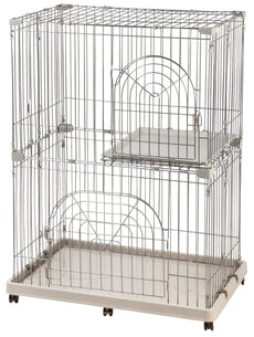 IRIS Wire Pet Cage/Cat Playpen Gray 2-Tier