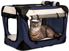 PetLuv Happy Cat Premium Soft Sided Foldable Top & Side Loading Pet Carrier & Travel Crate - Locking Zippers Shoulder Carry Straps Seat Belt Lock Plush Nap Pillow Airy Windows Sunroof Reduces Anxiety Navy Blue Small
