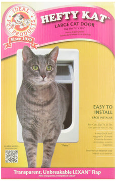 "Ideal Pet Products Chubby Kat Cat Door with 4 Way Lock, 7.5"" x 10.5"" Unbreakable LEXAN Flap"