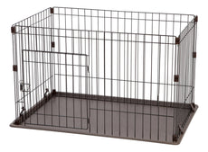 IRIS Wire Deluxe Dog Crate Brown Small