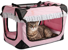 PetLuv Happy Cat Premium Soft Sided Foldable Top & Side Loading Pet Carrier & Travel Crate - Locking Zippers Shoulder Carry Straps Seat Belt Lock Plush Nap Pillow Airy Windows Sunroof Reduces Anxiety Pink w/Lace Small