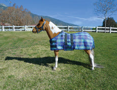 Kensington Mini Protective Fly Sheet — Protection Against UV Rays and Insect Bites— Mesh Fabric Keeps Mini Cool Blue Ice Plaid Medium