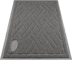 Pawkin Cat Litter Mat - Patented Design with Litter Lock Mesh - Durable - Easy to Clean - Soft - Fits Under Litter Box - Litter Free Floors Gray X-Large