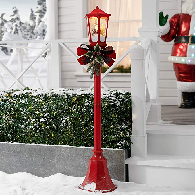 Red Christmas Lamp post Decoration - Soldify