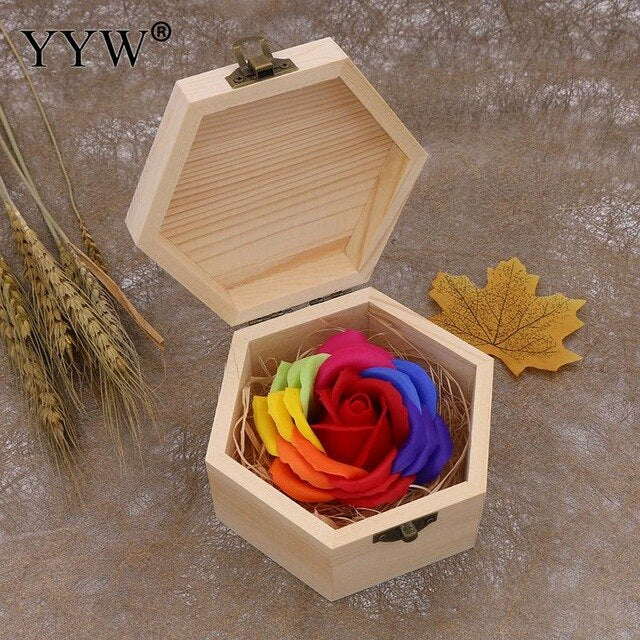 Valentines Gift Color Soap Rose Gift Box Wood - Soldify