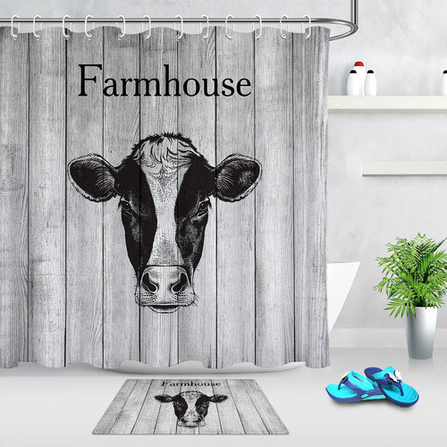 Rustic Wooden Board Cow Shower Curtain - Soldify