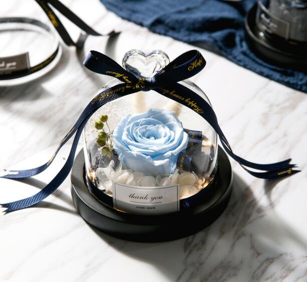Rose In Glass Dome With Lights  Eternal - Soldify