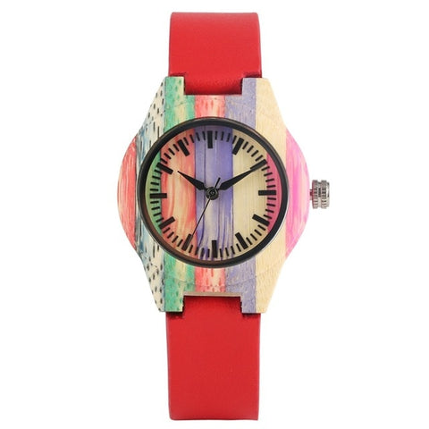 montre en bois multicolore rouge