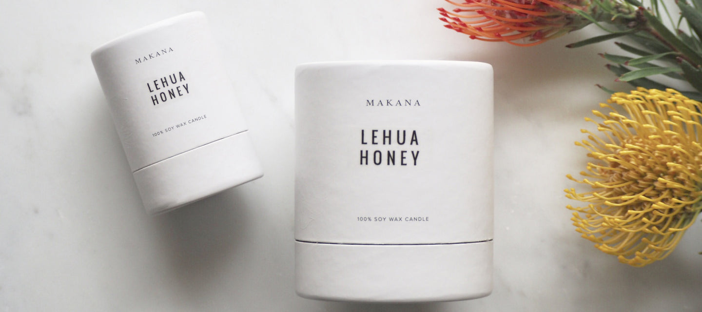 Lehua Honey 10 oz and 3 oz Candles with Red and Yellow Protea