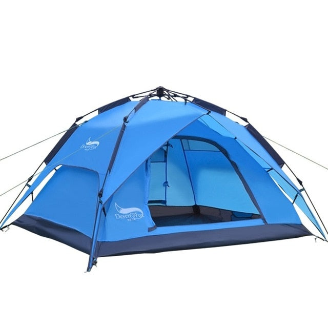 Double Layer Instant Setup Camping Tent, 3-4 Person Family Tent