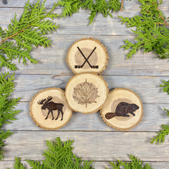 Canadian Coasters, Wood Burned