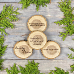 Wine Coaster Set, Wood Burned