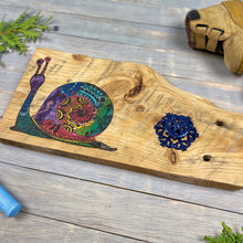 Load image into Gallery viewer, Children's Room Wall Hanger | Wood Burned | Watercolor | Snail