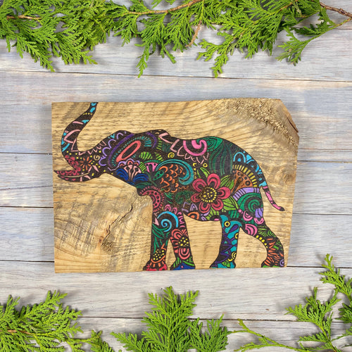 Zentangle Elephant Wall Art | Wood Burned | Barn Board
