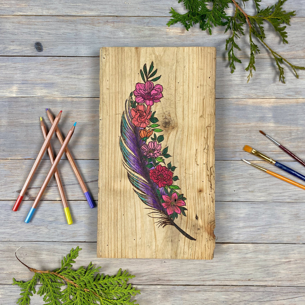 Feather and Flower Wall Art | Wood Burned | Watercolour