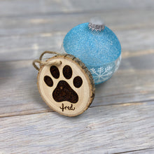 Load image into Gallery viewer, Dog Paw Print Ornament | Personalized | Wood Burned