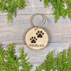 Cat Paw Print Ornament | Wood Burned | Personalized