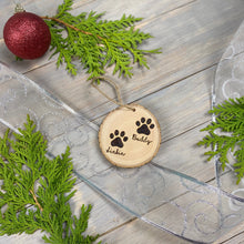 Load image into Gallery viewer, Pet Paw Print Ornament | Wood Burned | Personalized