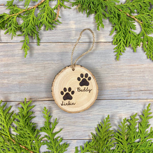 Pet Paw Print Ornament | Wood Burned | Personalized