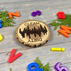 Clean Dirty Dishwasher Magnet | Wood Burned