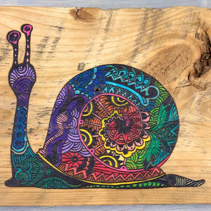 Children's Room Wall Hanger | Wood Burned | Watercolor | Snail