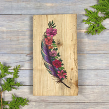 Load image into Gallery viewer, Feather and Flower Wall Art | Wood Burned | Watercolour
