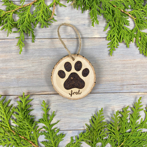 Dog Paw Print Ornament | Personalized | Wood Burned