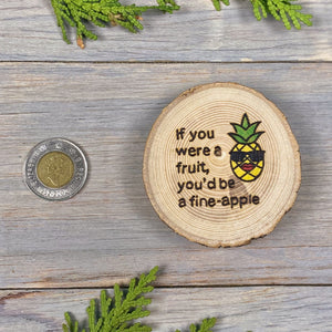 Pineapple Magnet | Wood Burned | Painted