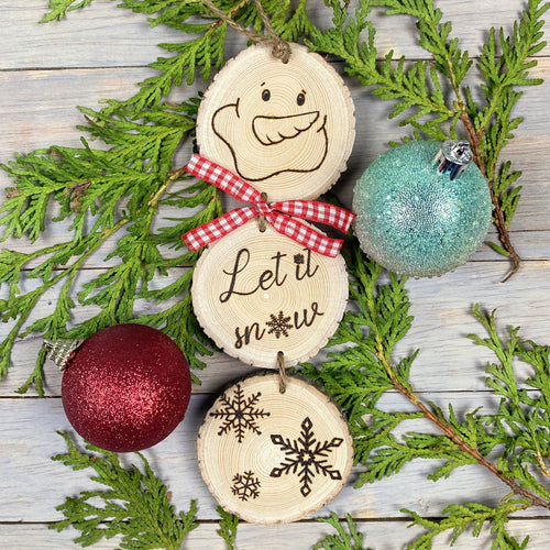 Snowman Decoration | Wood Slice Ornament | Wood Burned