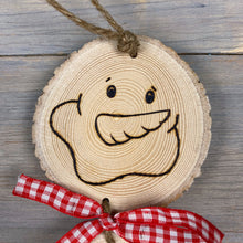 Load image into Gallery viewer, Snowman Decoration | Wood Slice Ornament | Wood Burned