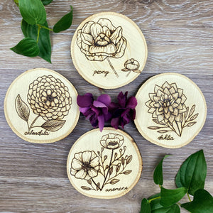 Flower Coasters - Set of 4