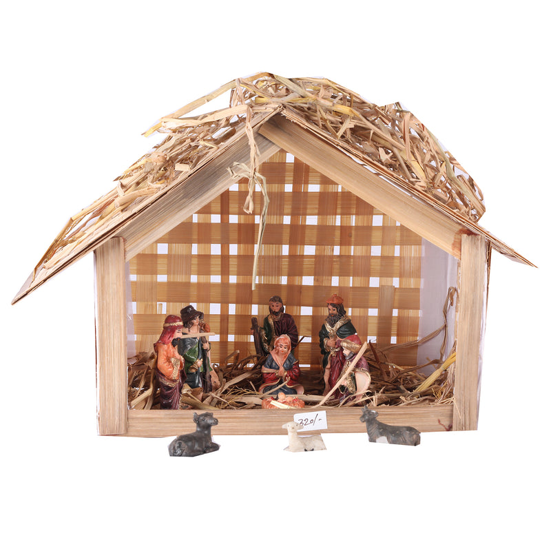 DIY Nativity Set 10 Inches (Hut + Dry Grass + 4 Inches Nativity Set) @ 950/-