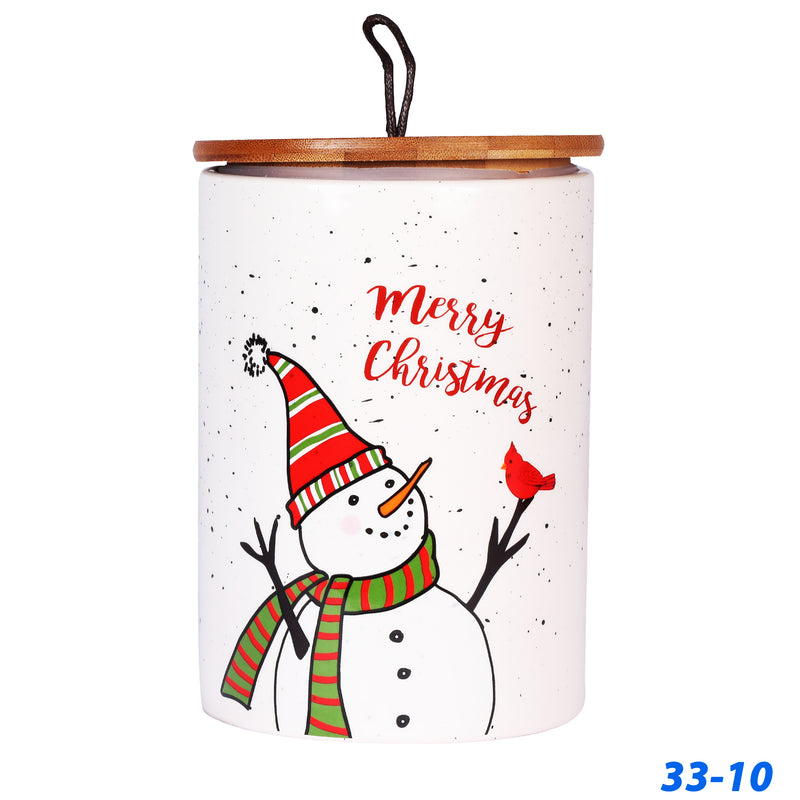 Snowman Christmas Themed Ceramic Container/Jar with Wodden Lid