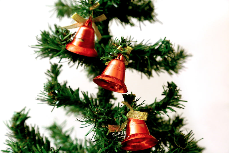 Christmas Single Bells for Tree Decoration Pack of 9 (Red, Silver)