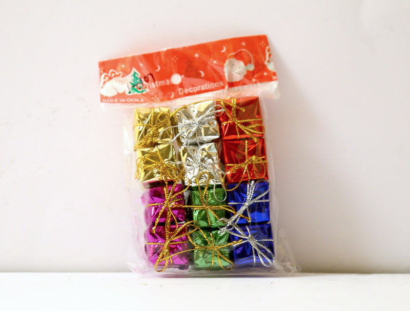 Gift Boxes Tree Decoration Pack of 12 (Colors included: Gold, Red, Silver, Blue, Green and Purple)