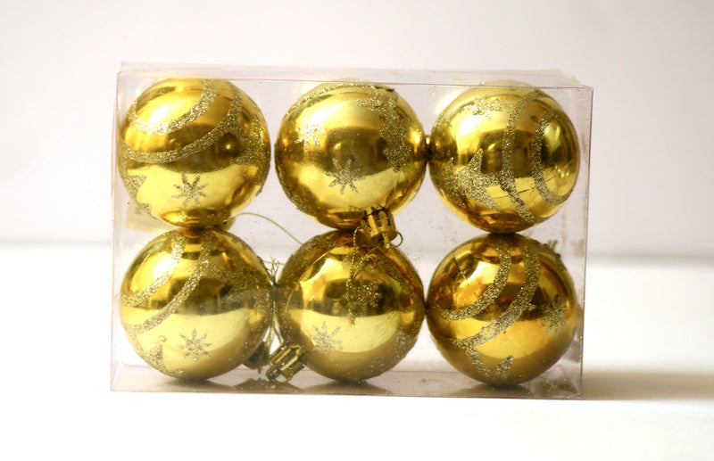 Christmas Ball Ornaments Pack of 6 (Silver, Gold and Red)