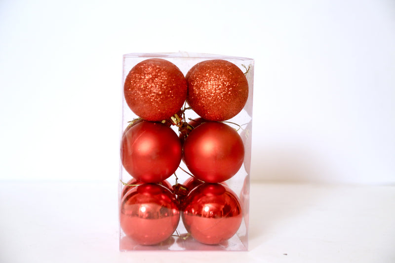Assorted Style Christmas Balls Ornaments Pack of 6 (Red)