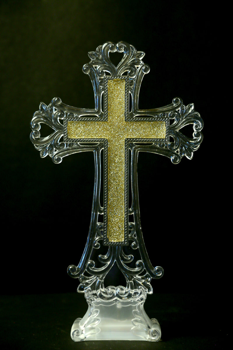 Jesus Christ  Acrylic Holy Cross Symbol with LED (Colors : Gold, Silver)